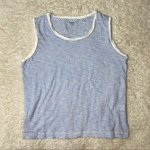 Madewell Whisper Cotton Tank blue and white stripe